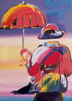 Umbrella Man on Blends Unique 2005 10x8 Works on Paper (not prints) by Peter Max