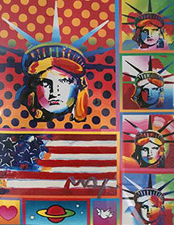 Five Liberties Unique 2006 28x23 Works on Paper (not prints) by Peter Max