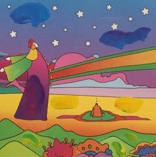 Two Sages With Stars on Blends Unique 2006 32x28 Works on Paper (not prints) by Peter Max