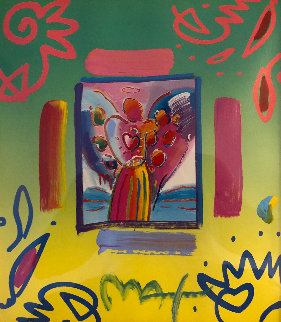 Angel With Heart Collage 1998 23x21 Works on Paper (not prints) by Peter Max