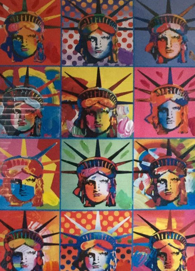 Liberty And Justice For All Unique 2001 39x33 Works on Paper (not prints) by Peter Max