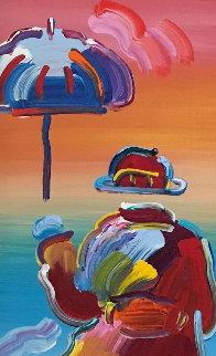 Umbrella Man on Blend  Unique 2015 37x22 Original Painting - Peter Max