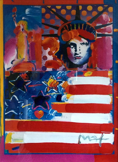 God Bless America II 2001 38x32 Works on Paper (not prints) by Peter Max