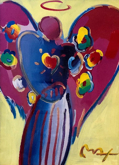 Angel With Heart 2000 36x30 Works on Paper (not prints) by Peter Max
