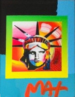 Liberty Head II on Blends: Americana Suite Unique 2006 26x24 Works on Paper (not prints) by Peter Max - 3
