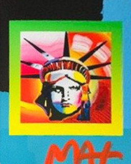 Liberty Head II on Blends: Americana Suite Unique 2006 26x24 Works on Paper (not prints) by Peter Max
