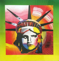 Liberty Head II on Blends: Americana Suite Unique 2006 26x24 Works on Paper (not prints) by Peter Max - 0