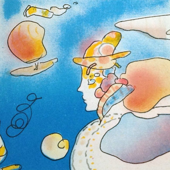In Horizon   Unique 1981 7x7 Works on Paper (not prints) by Peter Max
