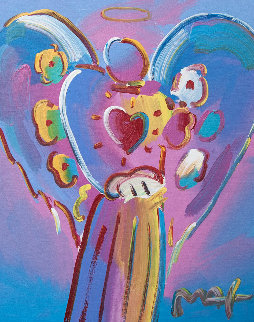 Angel With Heart 2006 34x30 Original Painting - Peter Max