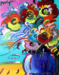 Vase of Flowers Series XVII Ver. II 2014 31x27 Original Painting - Peter Max