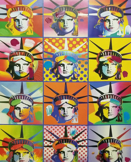 Liberty And Justice For All, Version II Unique 2005 Works on Paper (not prints) by Peter Max