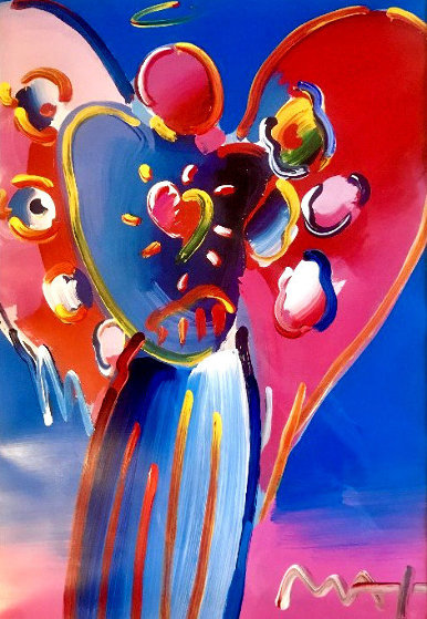 Angel With Heart 2005 34x30 Original Painting by Peter Max
