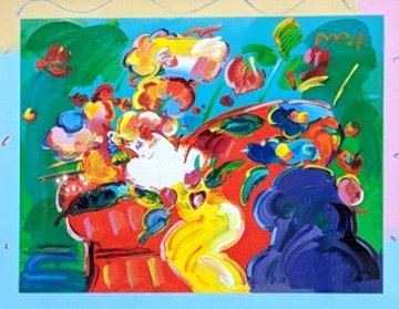 Flower Lady 2014 24x31 Works on Paper (not prints) by Peter Max