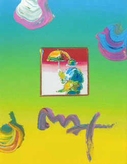 Umbrella Man Unique 22x19 Original Painting - Peter Max