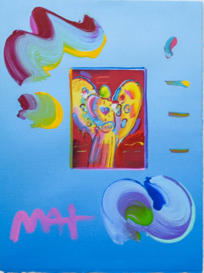 Angel With Heart Unique 21x18 Works on Paper (not prints) by Peter Max