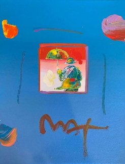 Umbrella Man (Blue) Unique 11x8 Works on Paper (not prints) by Peter Max