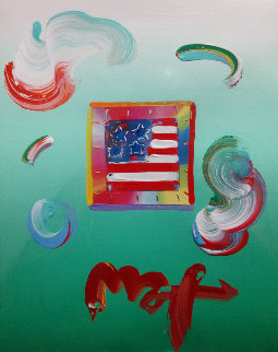 Flag Unique 2009 8x11 Works on Paper (not prints) by Peter Max