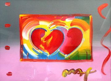 Two Hearts on Blends: Harmony And Love   Unique2006 27x31 Works on Paper (not prints) by Peter Max