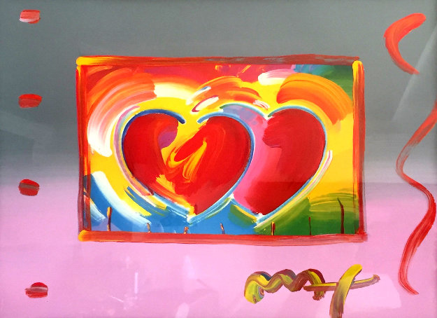 Two Hearts on Blends: Harmony And Love   Unique  2006  27x31 Works on Paper (not prints) by Peter Max