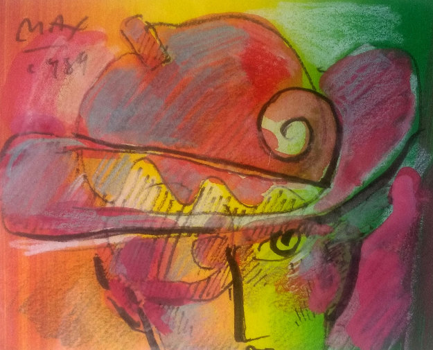 Man With Profile 1988 19x21 Original Painting by Peter Max