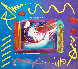 I Love the World Collage Unique 1999 12x14   Works on Paper (not prints) by Peter Max - 0