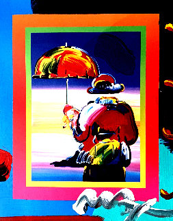 Umbrella Man Unique 2005 10x8 Works on Paper (not prints) by Peter Max