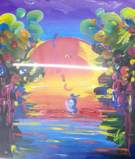 Better World Unique 2000 35x30 Original Painting by Peter Max
