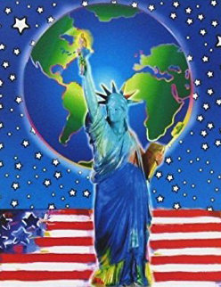 Peace on Earth II Unique 2005 38x33 Works on Paper (not prints) by Peter Max