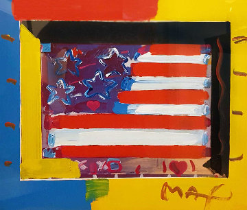 Flag With Heart Unique 1998 21x24 Works on Paper (not prints) by Peter Max