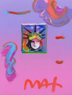 Liberty Head II Unique 2019 22x19 Works on Paper (not prints) by Peter Max