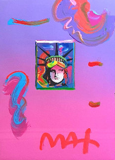 Liberty Head II Unique 2019 23x19 Works on Paper (not prints) by Peter Max