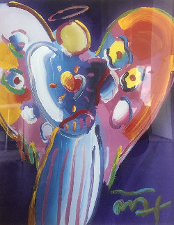 Angel With Heart 2001 38x32 Original Painting by Peter Max