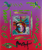 Liberty Head II Collage Unique 1997 14x12 Works on Paper (not prints) by Peter Max - 0