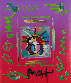Liberty Head II Collage Unique 1997 14x12 Works on Paper (not prints) by Peter Max