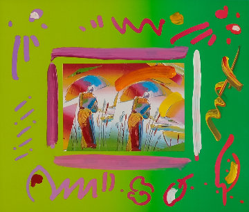 Duo Umbrella Man Unique 2000 12x14 Works on Paper (not prints) by Peter Max