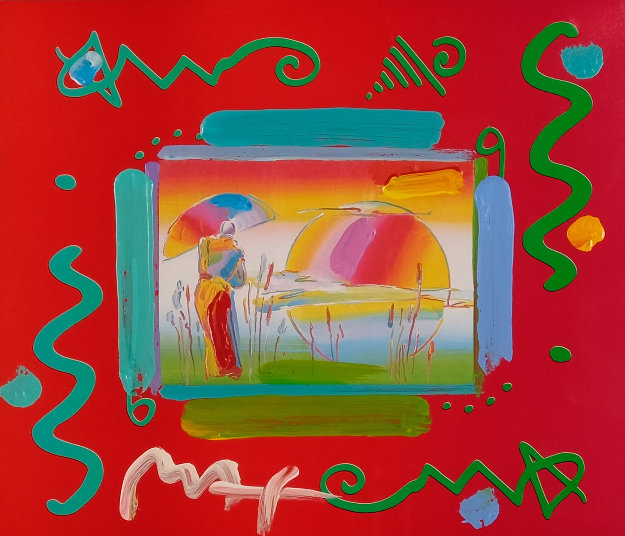 Rainbow Umbrella Man II Collage Unique 1998 12x14 Works on Paper (not prints) by Peter Max