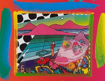 Fishing Collage Unique 12x14 Works on Paper (not prints) by Peter Max