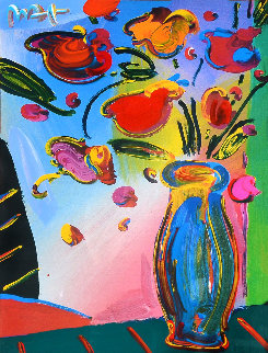 Faciliti-Link Flowers Unique 38x32 Works on Paper (not prints) by Peter Max