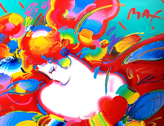 Flower Blossom Lady 1993 46x54 Works on Paper (not prints) by Peter Max
