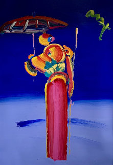 Umbrella Man With Cane Unique 2007 60x48 Works on Paper (not prints) by Peter Max