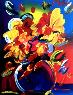 Untitled Still Life 28x22 Original Painting by Peter Max