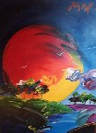 Without Borders   40x30 Original Painting - Peter Max