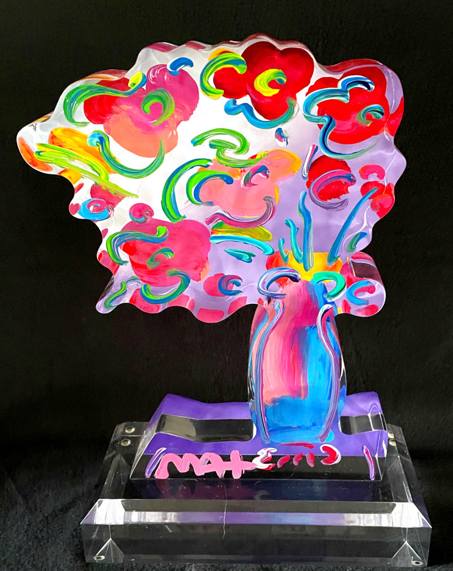 Vase of Flowers - Ver 11 Acrylic Sculpture 2016 Unique 12 in Sculpture by Peter Max