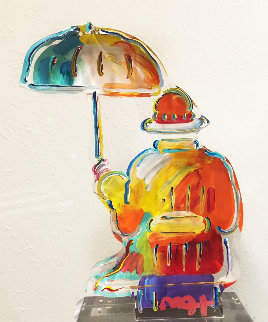 Umbrella Man Ver. III Acrylic Sculpture Unique 2014 12 in Sculpture by Peter Max