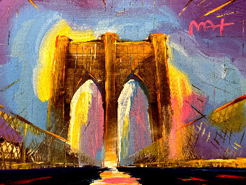Brooklyn Bridge I Version I #165 2016 27x34 Original Painting - Peter Max