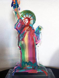 Statue of Liberty Ver III    Acrylic Sculpture Unique 2016 15 in  Sculpture by Peter Max