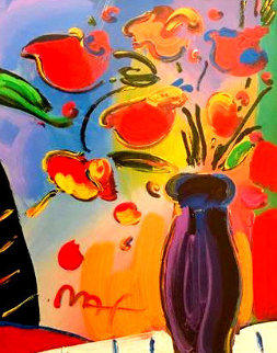 Vase of Flowers 2002 36x31 Works on Paper (not prints) by Peter Max