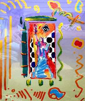 Statue of Liberty Unique 2001 28x24 Works on Paper (not prints) by Peter Max