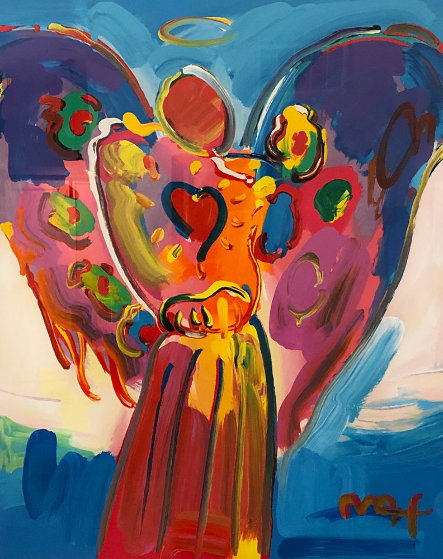 Angel With Heart 2014 46x41 Works on Paper (not prints) by Peter Max