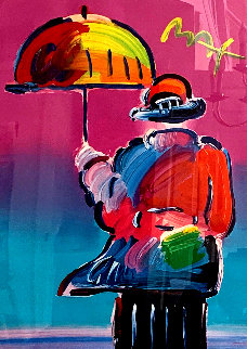 Umbrella Man 1999 Unique 33x24 Works on Paper (not prints) - Peter Max